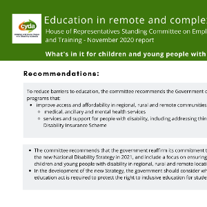 Education in remote and complex environments: House of Representatives Standing Committee on Employment, Education and Training