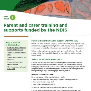 Parent and carer training and supports funded by the NDIS